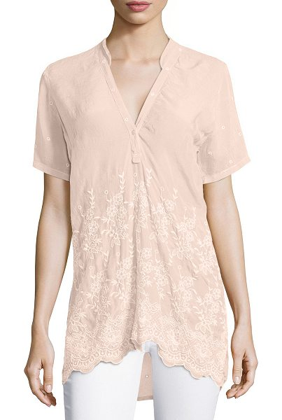 "Johnny Was Tulia short-sleeve embroidered georgette blouse in blush - Johnny Was Collection ""Tulia"" blouse in slightly..."