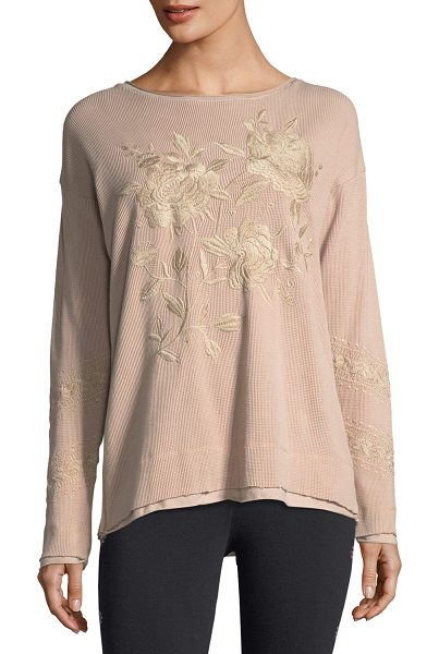 Johnny Was Embroidered Thermal Sweatshirt in antique rose - Johnny Was camo-print thermal sweatshirt featuring...