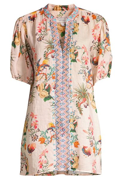 Johnny Was floral puff-sleeve tunic in neutral