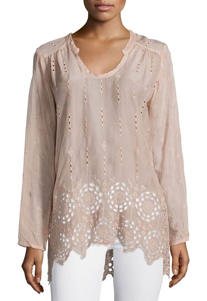 JOHNNY WAS Long Shirred-Yoke Eyelet Tunic - JWLA for Johnny Was tunic blouse in sheer georgette with...