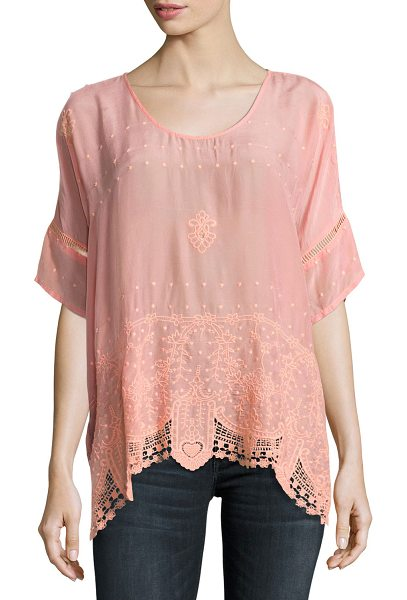 "Johnny Was Princess Short-Sleeve Georgette Top in coral sunset - Johnny Was ""Princess"" top in crinkled georgette. Scoop..."