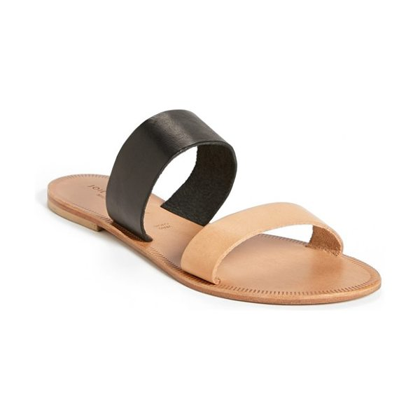 Joie a la plage 'sable' leather slip-on sandal in black natural - Two color-blocked straps define a simple and elegant...