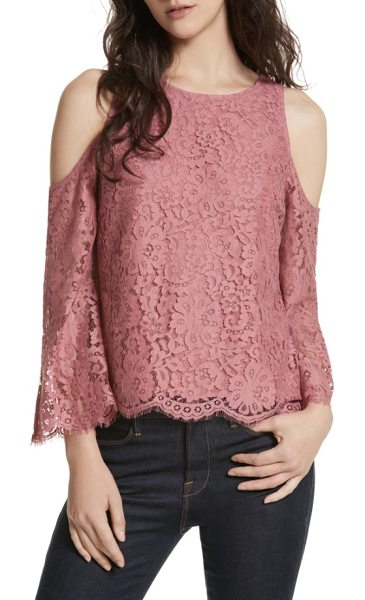 Joie abay cold shoulder lace top in bella rose - Exude ethereal elegance in this lacy cold-shoulder...