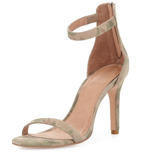 "JOIE Abbot camo-print naked sandal - Joie camo-print suede sandal. 3. 8"" zip-heel. Thin toe..."