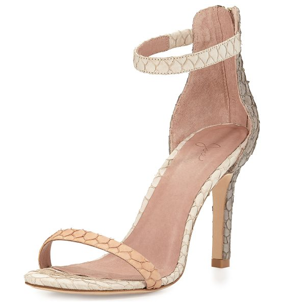 "Joie Abbott Fish-Skin Sandal in clay/dove/parchme - Joie sandal with fish skin upper. 3.8"" covered heel...."