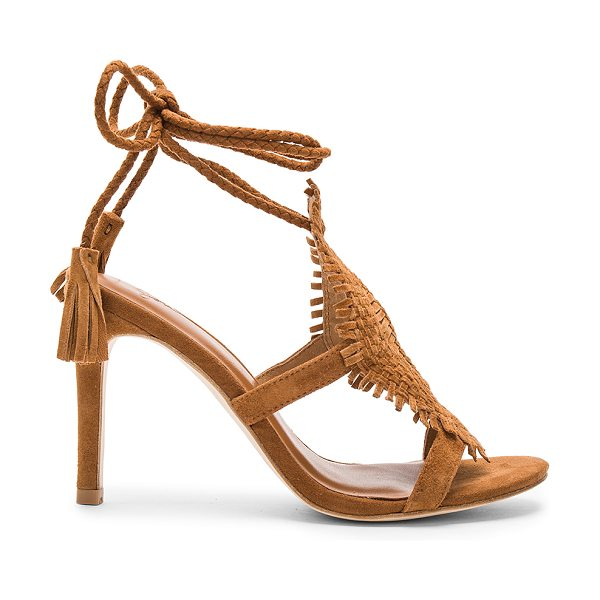 Joie Ady Heel in cognac - Suede upper with leather sole. Braided wrap ankle with...