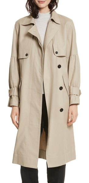 Joie alwena cotton trench coat in khaki - Two-part gathered sleeves and a gathered back yoke bring...