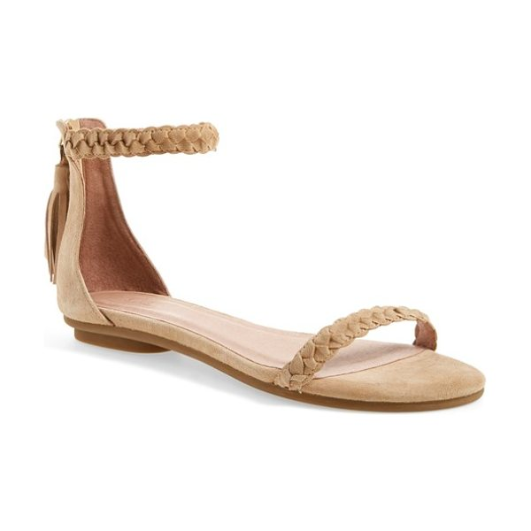 Joie amina ankle strap sandal in buff kid suede - Woven straps and a back tassel detail provide plenty of...