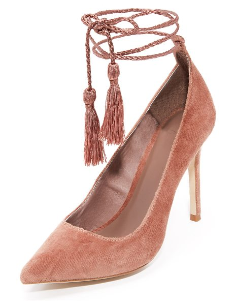 Joie angelynn ankle wrap pumps in vintage rose - Pointed-toe Joie pumps in plush velvet. Braided silk...