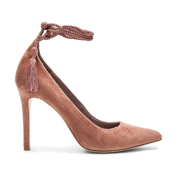 Joie Angelynn Heel in rose - Velvet fabric upper with leather sole. Wrap ankle with...