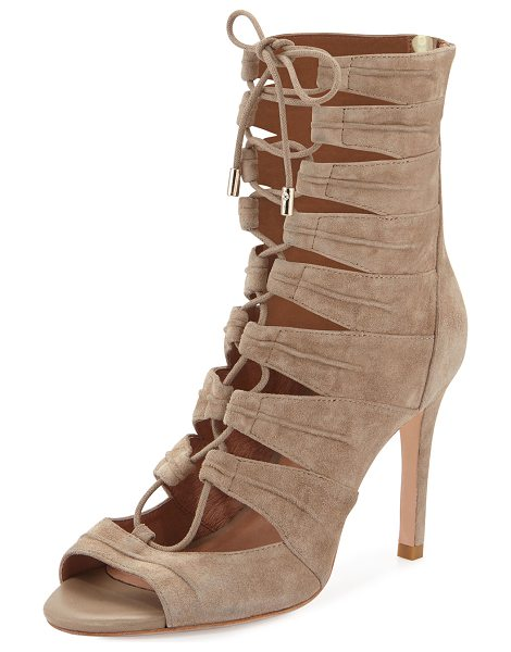 "Joie Anja lace-up cage bootie in mousse (tan) - Joie suede cage bootie. 3. 8"" covered heel; 6"" boot..."