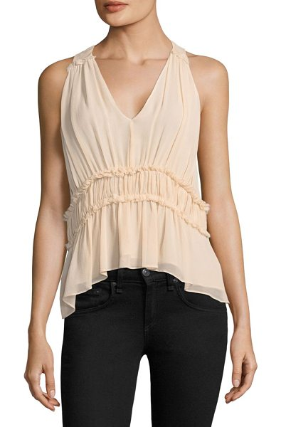 JOIE bach silk peplum blouse - Silk V-neck pleated peplum detail blouse. Sleeveless....