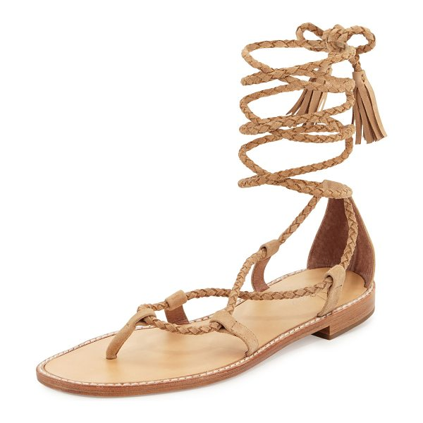 "Joie Bailee Lace-Up Flat Gladiator Sandal in buff - Joie braided suede gladiator sandal. 0.5"" stacked heel...."