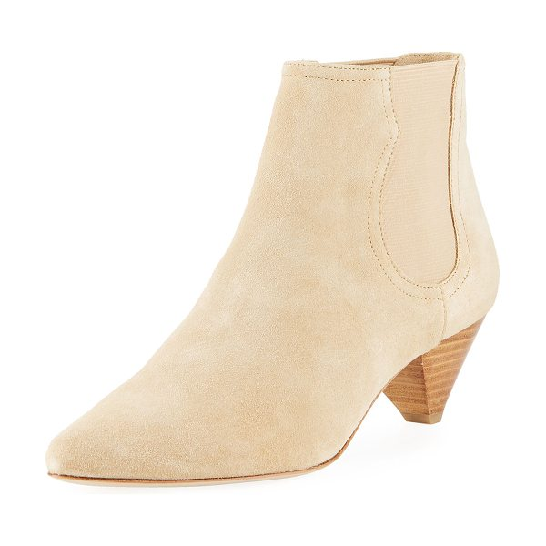 """Joie Barleena Suede Cone-Heel Booties in sand - Joie suede bootie with tonal stitching. 2"""" stacked cone..."""