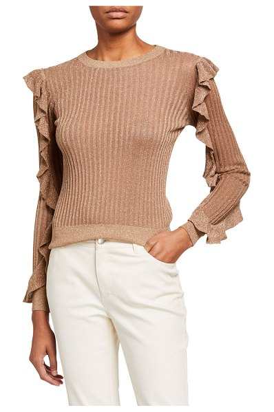 Joie Beza Shimmered-Knit Sweater with Ruffle Sleeves in gold