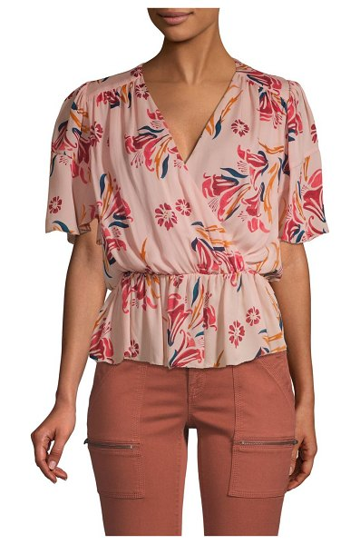 Joie bisma floral silk wrap peplum blouse in pink sky - Watercolor florals lend enchantment to this fanciful...