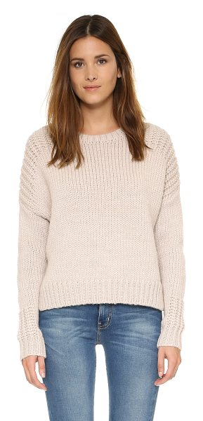 Joie Blaisie sweater in heather oatmeal - Shaker knit panels highlight the shoulders and cuffs of...