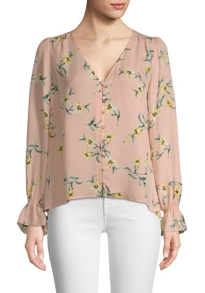 Joie bolona silk floral blouse in blush sand - Lightweight floral silk blouse with long bishop sleeves...