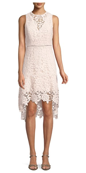 "Joie Bridley Lace High-Low Dress in pink - Joie ""Bridley"" guipure lace dress. Round neckline;..."