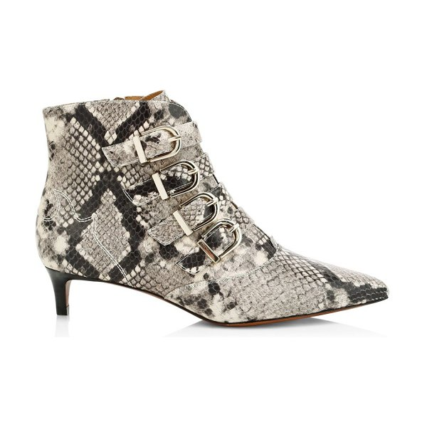 Joie calinda buckle snakeskin-embossed leather ankle boots in neutral