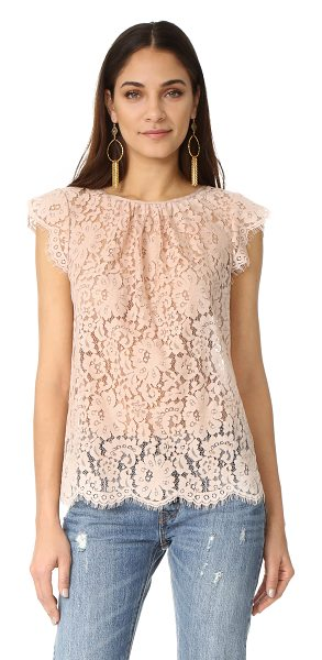Joie channelle blouse in petal - Grosgrain banding trims the round neckline on this...