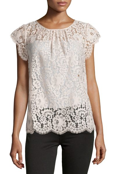 "Joie Channelle Bow-Back Lace Top in blush - Joie ""Channelle"" top in lace with scalloped eyelash-lace..."