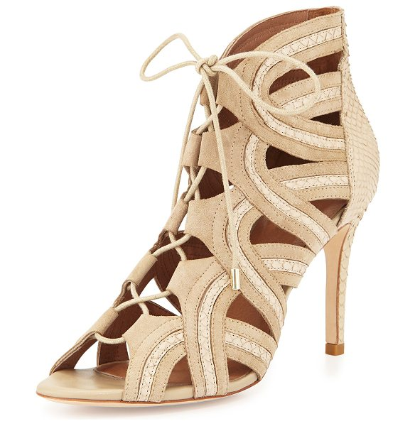 Joie Dean lace-up gladiator pump in dusty pink sand - Joie gladiator pump in suede with inset snakeskin trim....