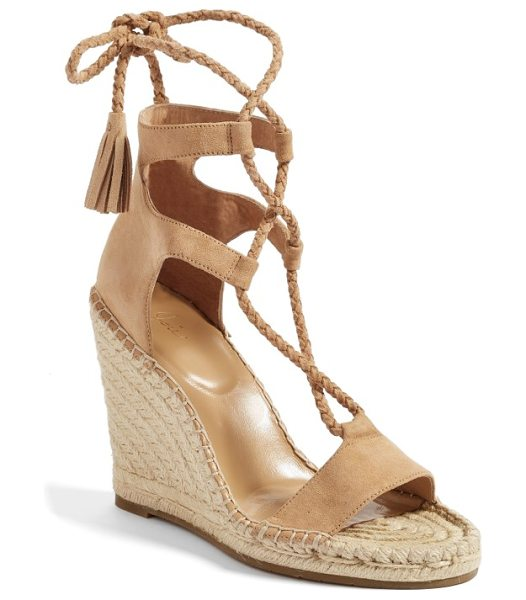 JOIE delilah espadrille wedge sandal in powder - With slender plaited straps that wrap around the ankle...