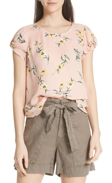 Joie elline knot sleeve silk top in blush sand - A lightly knotted sleeve adds interest to a sweet silk...
