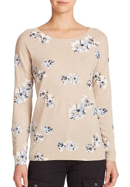 Joie Eloisa floral print sweater in heatheroatmeal - Delicate petals lend feminine charm to this sumptuous,...