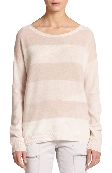 Joie Eloisa stripe-front cashmere sweater in heathersand - Monochromatic stripes lightly pattern the front of this...