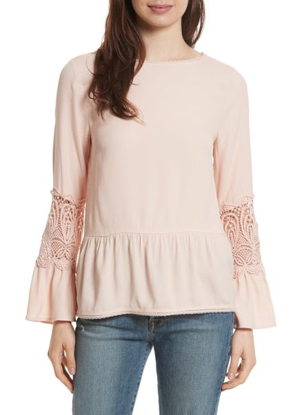 Joie emelda bell sleeve blouse in primrose - A boho blouse is lovely in pale-pink crepe with lacy...