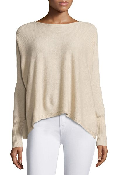 "Joie Fai Cashmere Rib-Trim Sweater in pink - Joie ""Fai"" soft sweater with ribbed details at neckline,..."