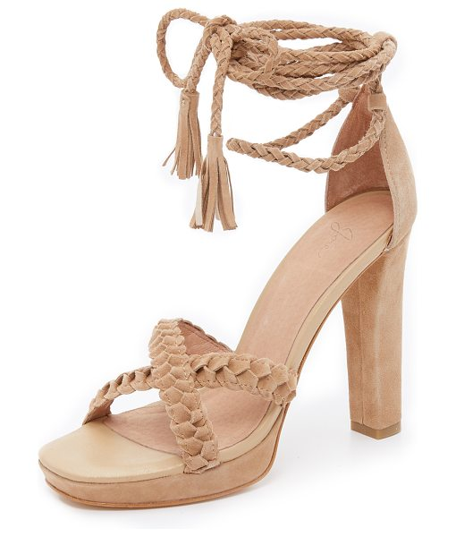 Joie Flo ankle wrap sandals in buff - Tassels finish the braided ties on these luxe suede Joie...
