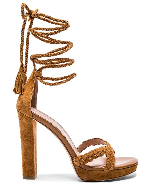 Joie Flo heel in cognac - Suede upper with leather sole. Braided leather straps....