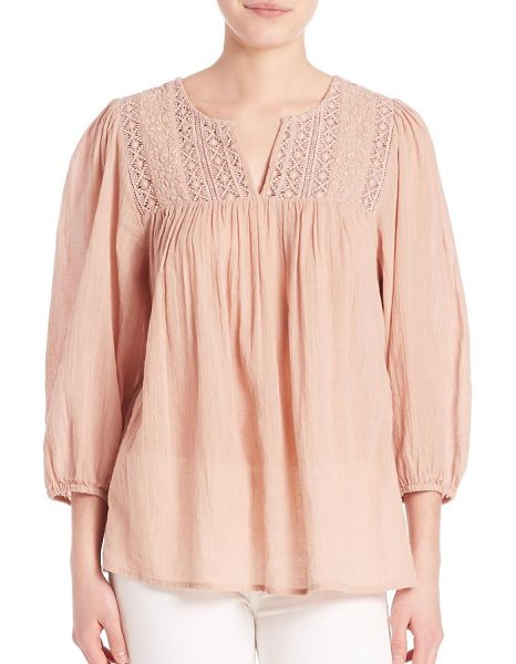 Joie Folk cotton gauze lace blouse in sandshell - Delicate lace details at front for a romantic flair....