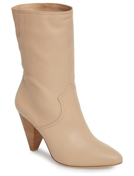 JOIE gabbissy almond toe boot in blush - A stacked cone heel adds a modern touch to a lambskin...