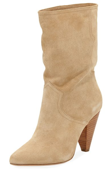 """JOIE Gabbissy Slouchy Suede Mid-Calf Boot - Joie slouchy suede boot with Western styling. 3.5"""" sacked..."""