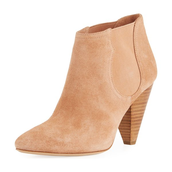 "Joie Gabija Stretch-Suede Cone-Heel Ankle Bootie in peach - Joie ""Gabija"" suede bootie with stretch-gore sides. 3.5""..."