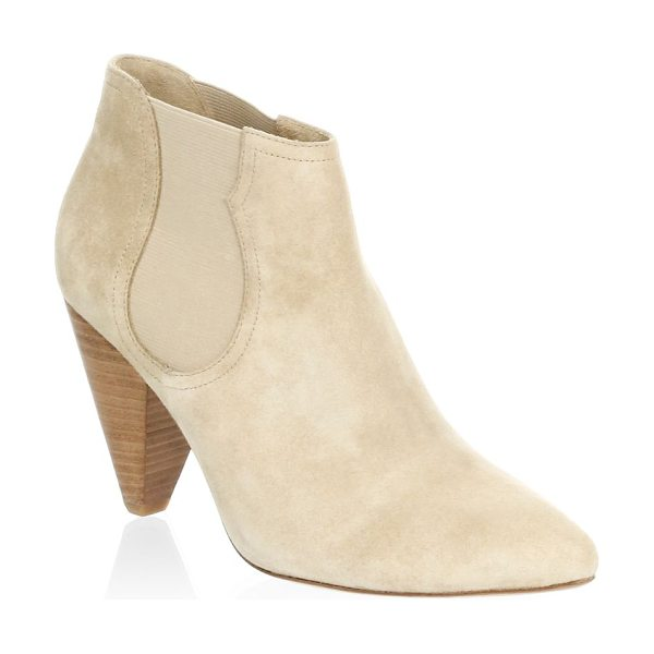 Joie gabija suede booties in sand - Smooth suede booties with elastic goring and a cone...