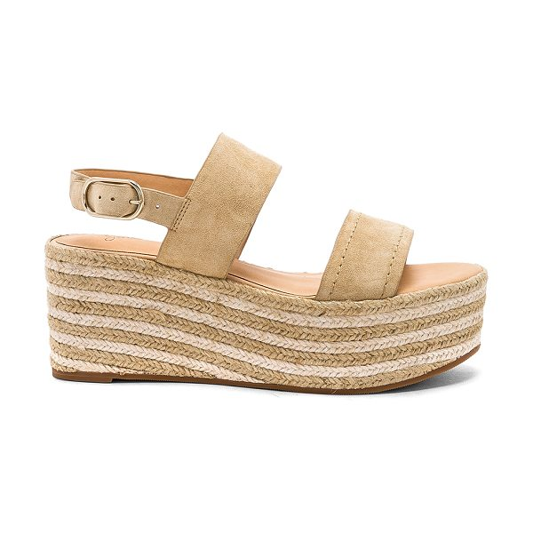 "JOIE Galicia Wedge in tan - ""Suede upper with man made sole. Ankle strap with buckle..."