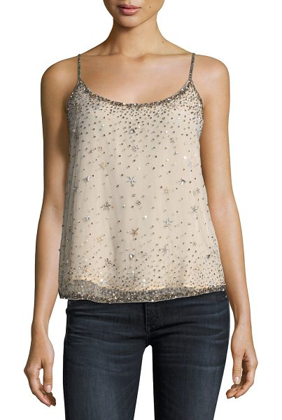 "Joie Garlen Scoop-Neck Sequined Tank in champagne - Joie ""Garlen"" tank with embellished sequins. Scoop..."
