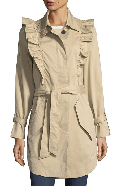 "Joie Gila Button-Front Belted Trench Coat in sand - Joie ""Gila"" trench coat with ruffled frills. Spread..."