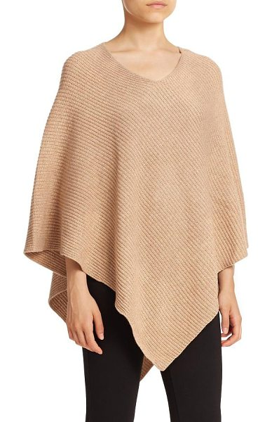 Joie Gorgonie ribbed wool & cashmere poncho in heathercamel - EXCLUSIVELY AT SAKS. Wool and cashmere elevate this...