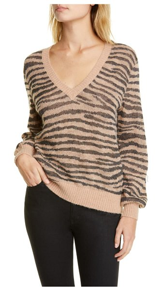 Joie inira tiger stripe metallic sweater in beige