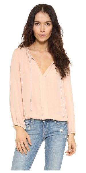 Joie Jacinta blouse in garden rose - A silk crepe Joie blouse with long, tasseled drawstrings...