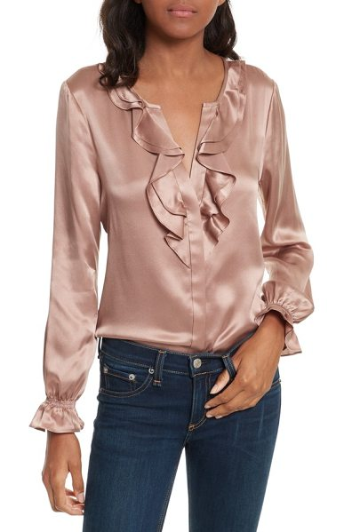 Joie jayanne b silk blouse in dried rose - Feminine ruffles cascade down the neckline and dance...
