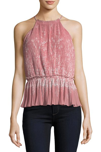 "Joie Jeneca Pleated Printed Halter Top in pink - Joie ""Jeneca"" printed, pleated blouse. High, halter..."