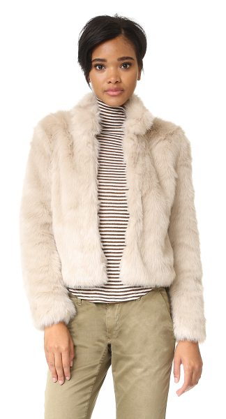 Joie merwyn jacket in almond - Plush faux fur composes this cropped Joie jacket. Stand...