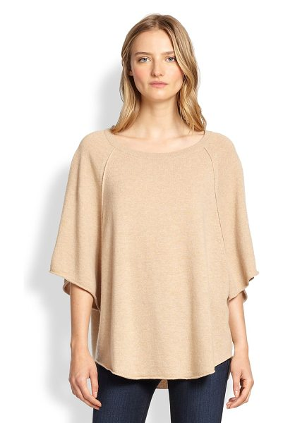 Joie Jolena wool & cashmere poncho-style sweater in camel - A draped, poncho-style silhouette enhances the soft,...